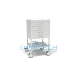 SS Trolley, 1 Shelf, 4 Drawer, With Rails