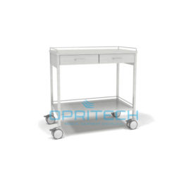SS Trolley, 2 Shelf, 2 Drawer Side By Side With Rails, 800x500mm X 900 High