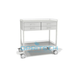 SS Trolley 4 Drawer 1Shelf W. Rails