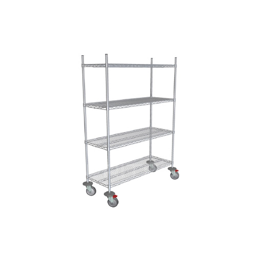 Chrome Wire 4 Shelf Trolley 460mm X 910mm