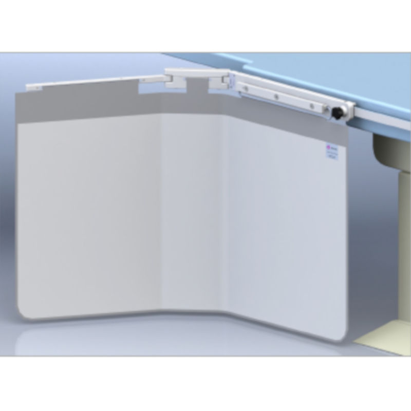 One piece table shield without a top shield, 1140mm wide with accessory rail